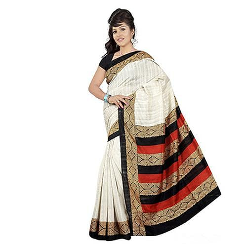 Off white Bhagalpuri Saree