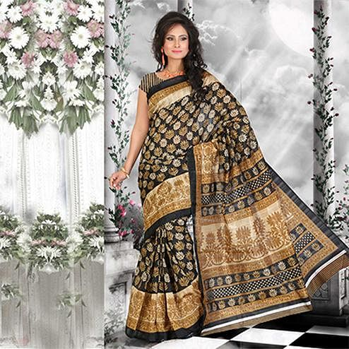 Black - Gold Floral Print Silk Saree