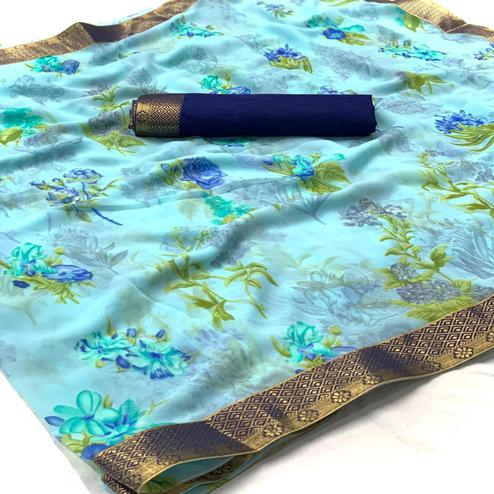 Gorgeous Light Blue Colored Casual Wear Digital Floral Printed Georgette Saree