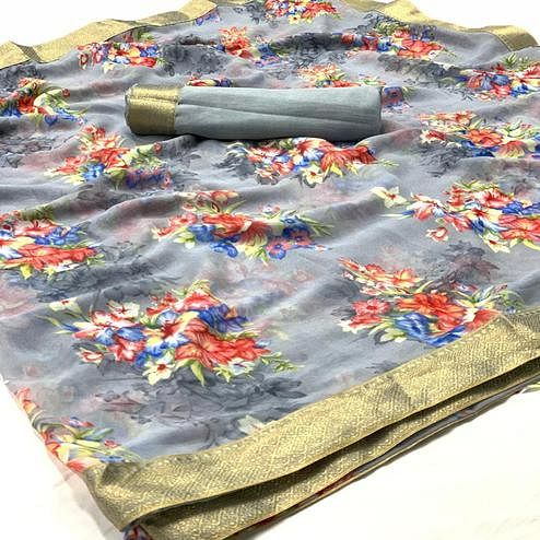 Ideal Grey Colored Casual Wear Digital Floral Printed Georgette Saree