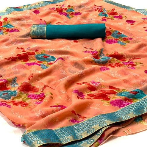 Imposing Peach Colored Casual Wear Digital Floral Printed Georgette Saree
