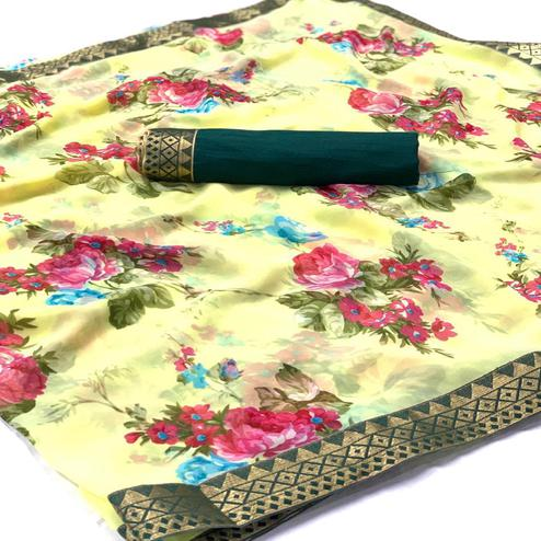 Lovely Light Yellow Colored Casual Wear Digital Floral Printed Georgette Saree