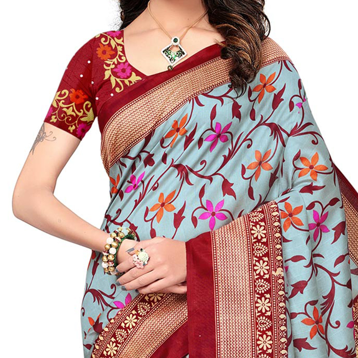 Blue - Maroon Festive Wear Printed Bhagalpuri Silk Saree