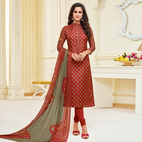 Blooming Rust Colored Partywear Printed With Embroidered Chanderi Dress Material