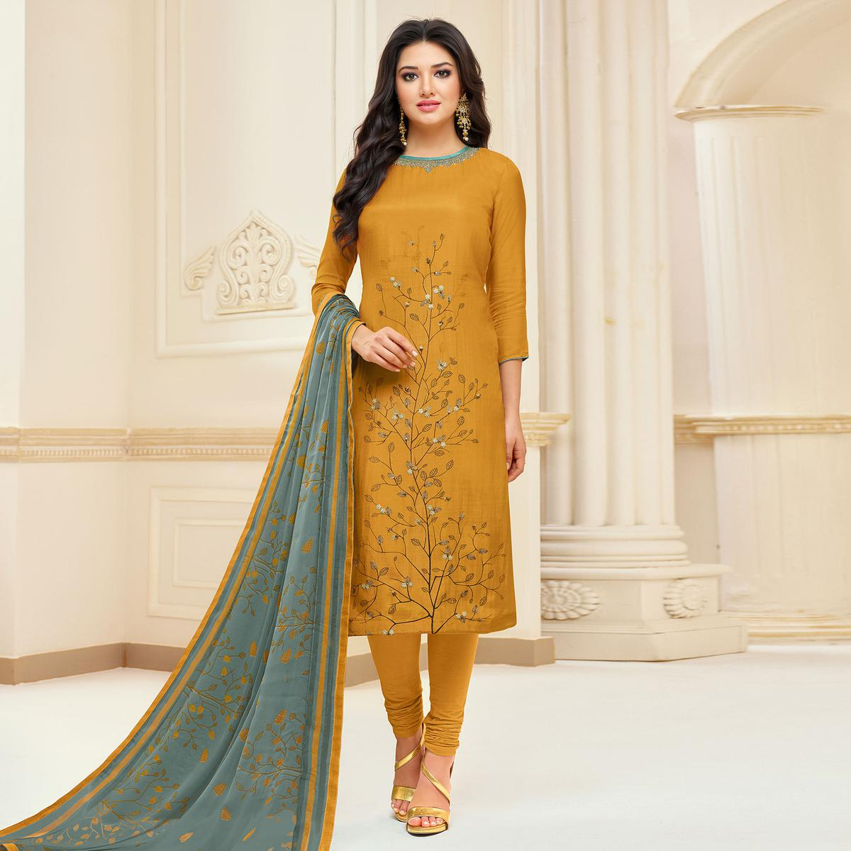 Jazzy Mustard Yellow Colored Partywear Embroidered Chanderi Dress Material