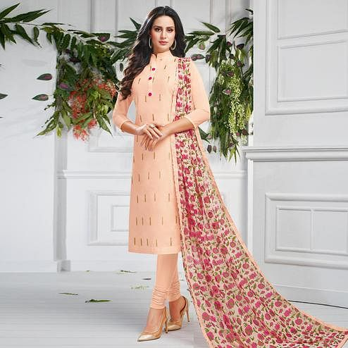Delightful Light Peach Colored Partywear Embroidered Chanderi Dress Material