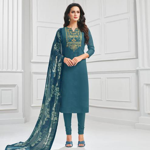 Engrossing Blue Colored Partywear Embroidered Chanderi Dress Material
