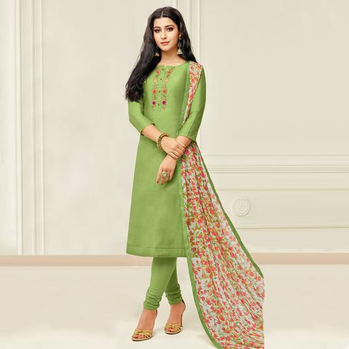 Captivating Pista Green Colored Partywear Embroidered Chanderi Dress Material