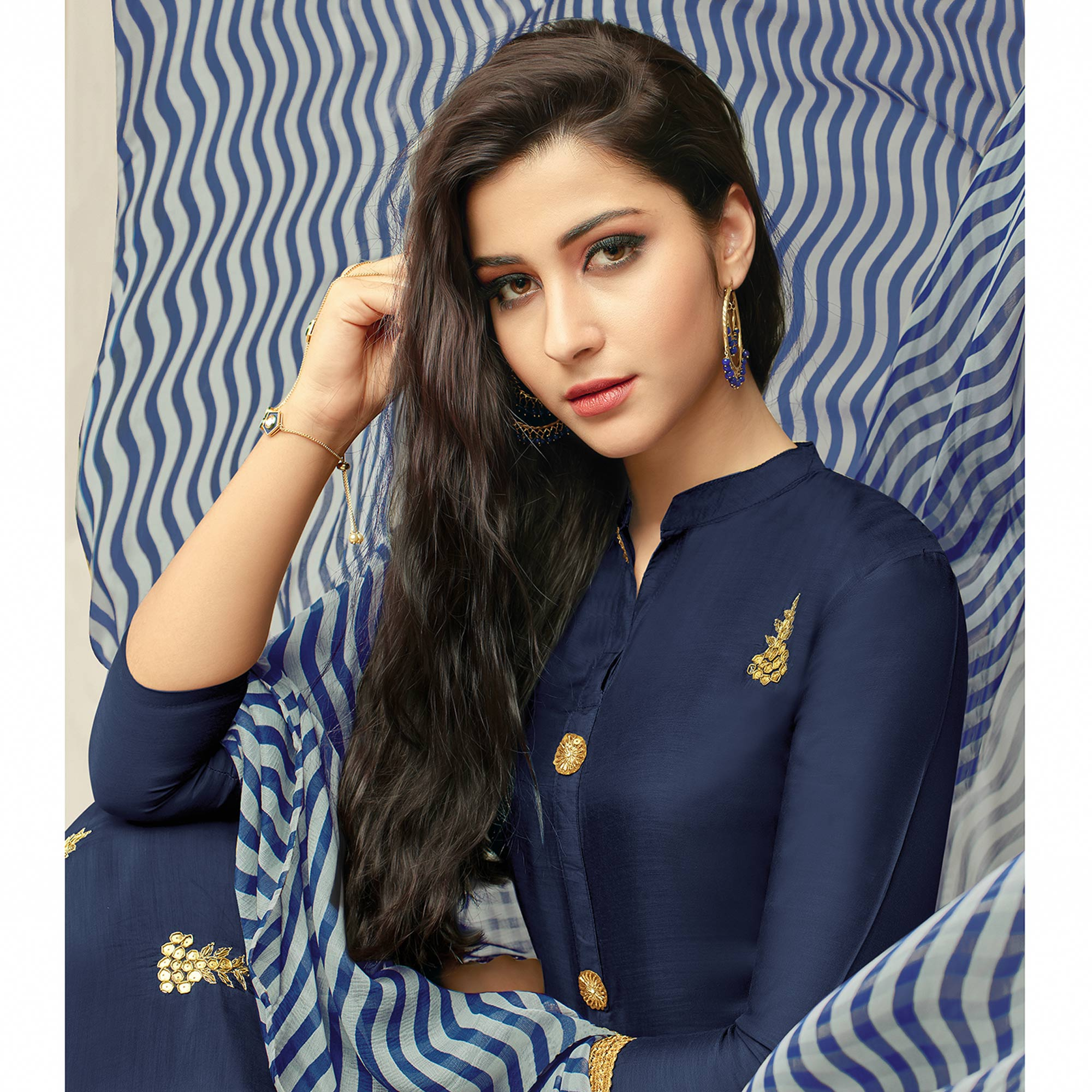 Innovative Navy Blue Colored Partywear Embroidered Chanderi Dress Material