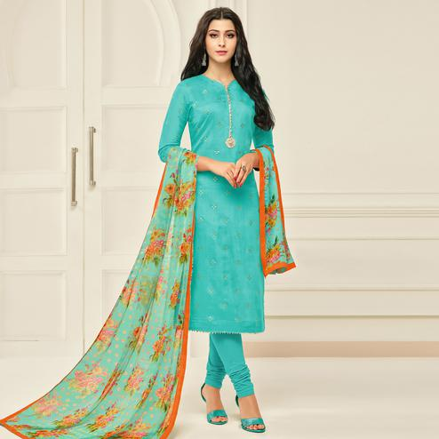 Eye-catching Aqua Blue Colored Partywear Embroidered Chanderi Dress Material