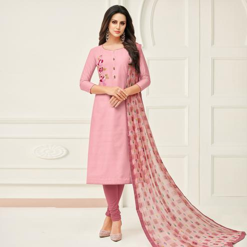 Fantastic Pink Colored Partywear Embroidered Chanderi Dress Material