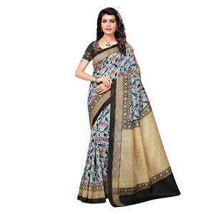 Grey - Black Festive Wear Printed Bhagalpuri Silk Saree