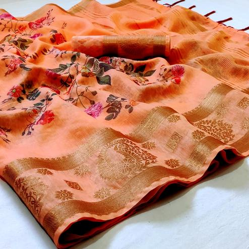 Mesmerising Peach Colored Festive Wear Woven Banarasi Silk Saree