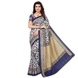 Grey - Blue Festive Wear Printed Bhagalpuri Silk Saree