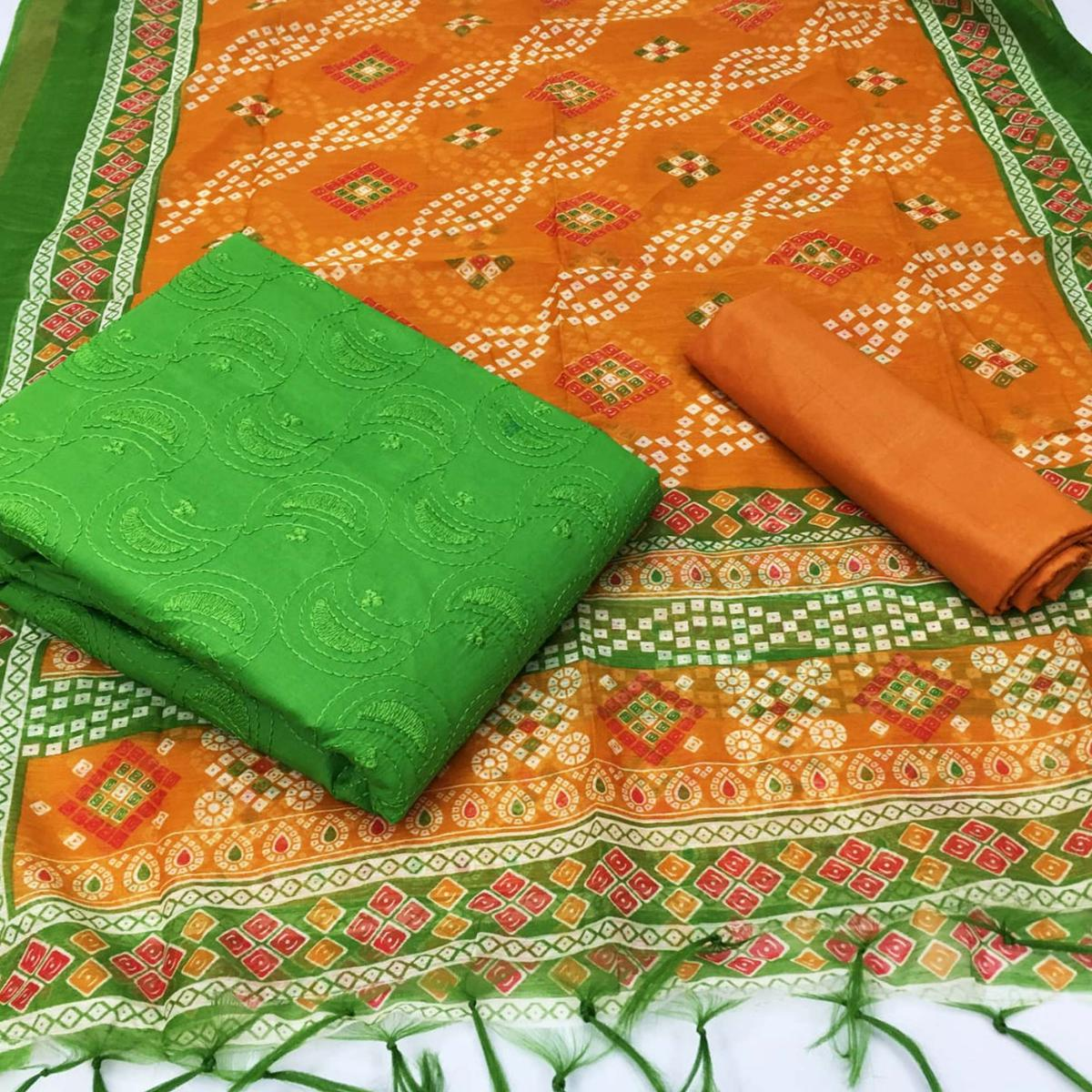 Exceptional Green Colored Partywear Embroidered Cotton Dress Material