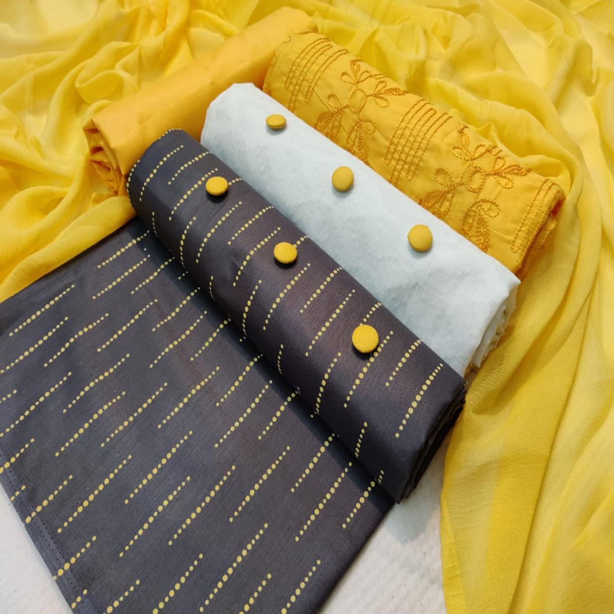 Unique Yellow - Black - White Colored Partywear Embroidered Tripel Top Cotton Dress Material