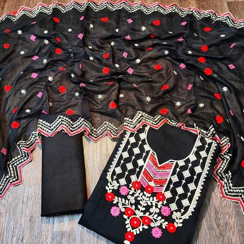 Sensational Black Colored Partywear Embroidered Chanderi Dress Material