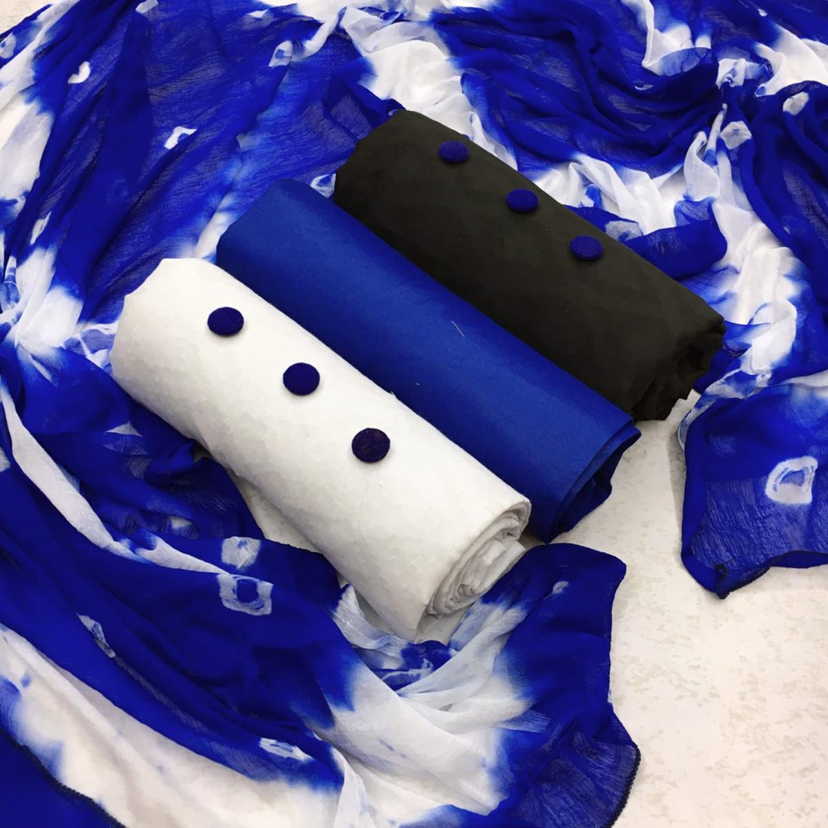 Classy Royal Blue - White - Black Colored Partywear Printed Double Top Cotton Dress Material