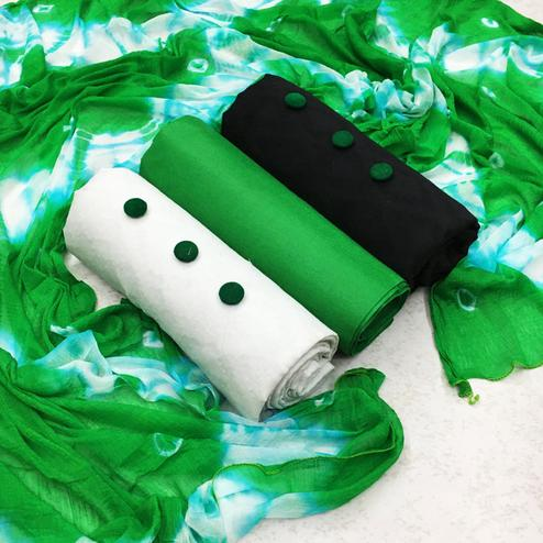 Prominent Green - White - Black Colored Partywear Printed Double Top Cotton Dress Material