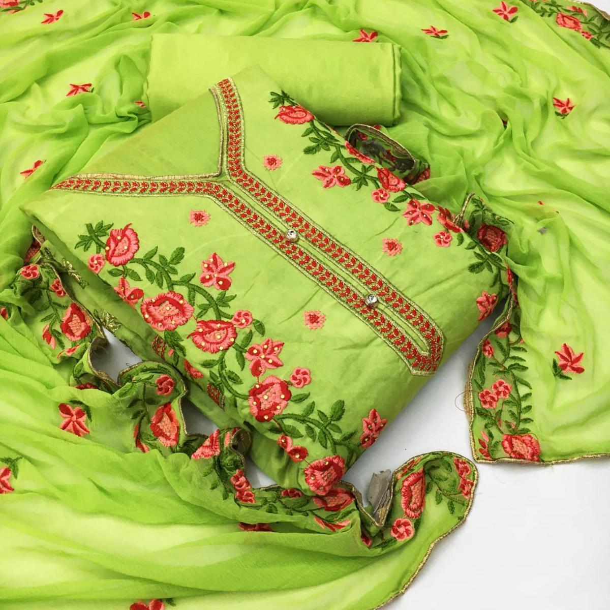 Adorable Green Colored Partywear Floral Embroidered Chanderi Dress Material