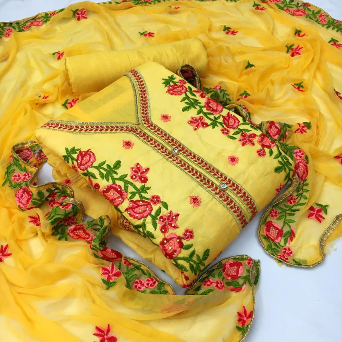 Glorious Yellow Colored Partywear Floral Embroidered Chanderi Dress Material