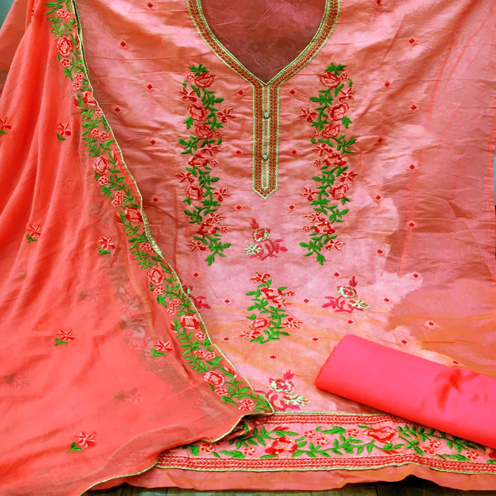 Beautiful Pink Colored Partywear Floral Embroidered Chanderi Dress Material
