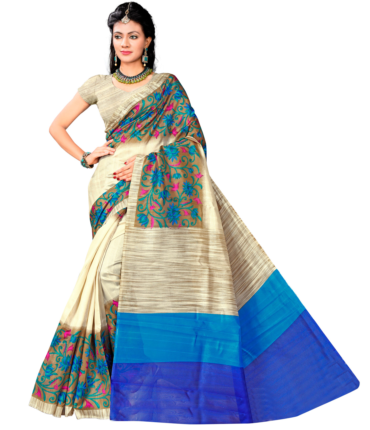 Cream - Blue Printed Bhagalpuri Silk Saree