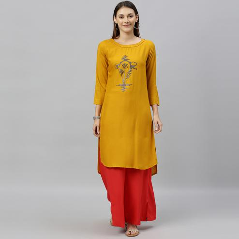 Globon Fashion - Women Solid Rayon Mustard Yellow Straight Up Down Kurti