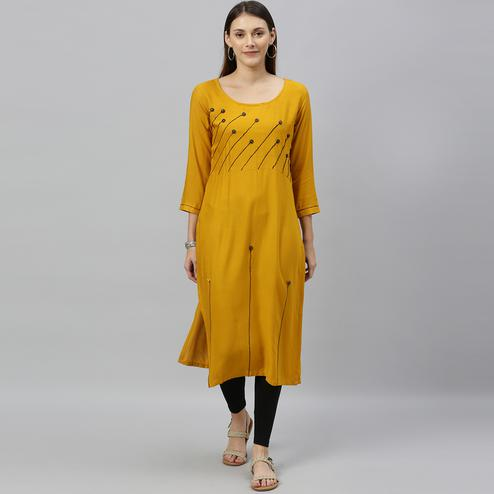 Globon Fashion - Women Solid Rayon Mustard Yellow Straight Kurti