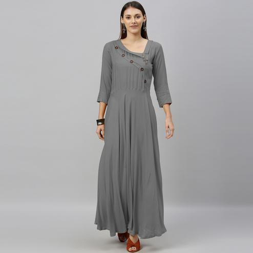 Globon Fashion - Women Solid Rayon Grey Anarkali Kurti