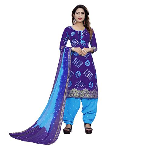 Baarbij - Blue Colored Bandhani Radhika Unstitched Pure Cotton Bandhej Jaipuri Dress Material