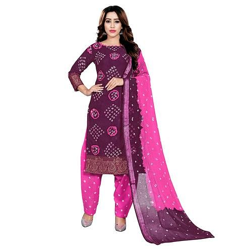 Baarbij - Pink Colored Bandhani Radhika Unstitched Pure Cotton Bandhej Jaipuri Dress Material