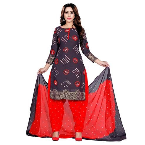 Baarbij - Red Colored Bandhani Radhika Unstitched Pure Cotton Bandhej Jaipuri Dress Material