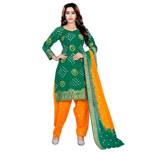 Baarbij - Green Colored Bandhani Radhika Unstitched Pure Cotton Bandhej Jaipuri Dress Material