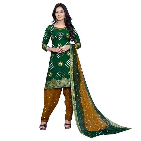 Baarbij - Dark Green Colored Bandhani Radhika Unstitched Pure Cotton Bandhej Jaipuri Dress Material