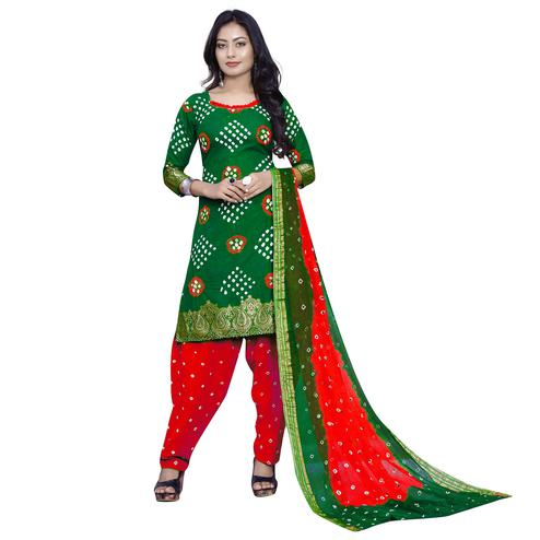 Baarbij - Mehendi Green Colored Bandhani Radhika Unstitched Pure Cotton Bandhej Jaipuri Dress Material