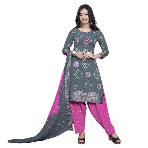 Baarbij - Grey Colored Bandhani Radhika Unstitched Pure Cotton Bandhej Jaipuri Dress Material