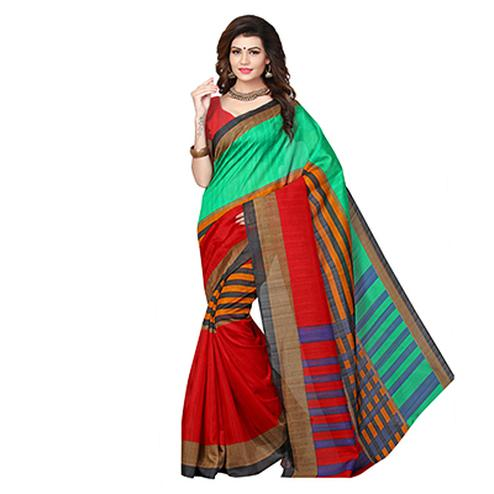 Red - Green Festive Wear Printed Bhagalpuri Silk Saree