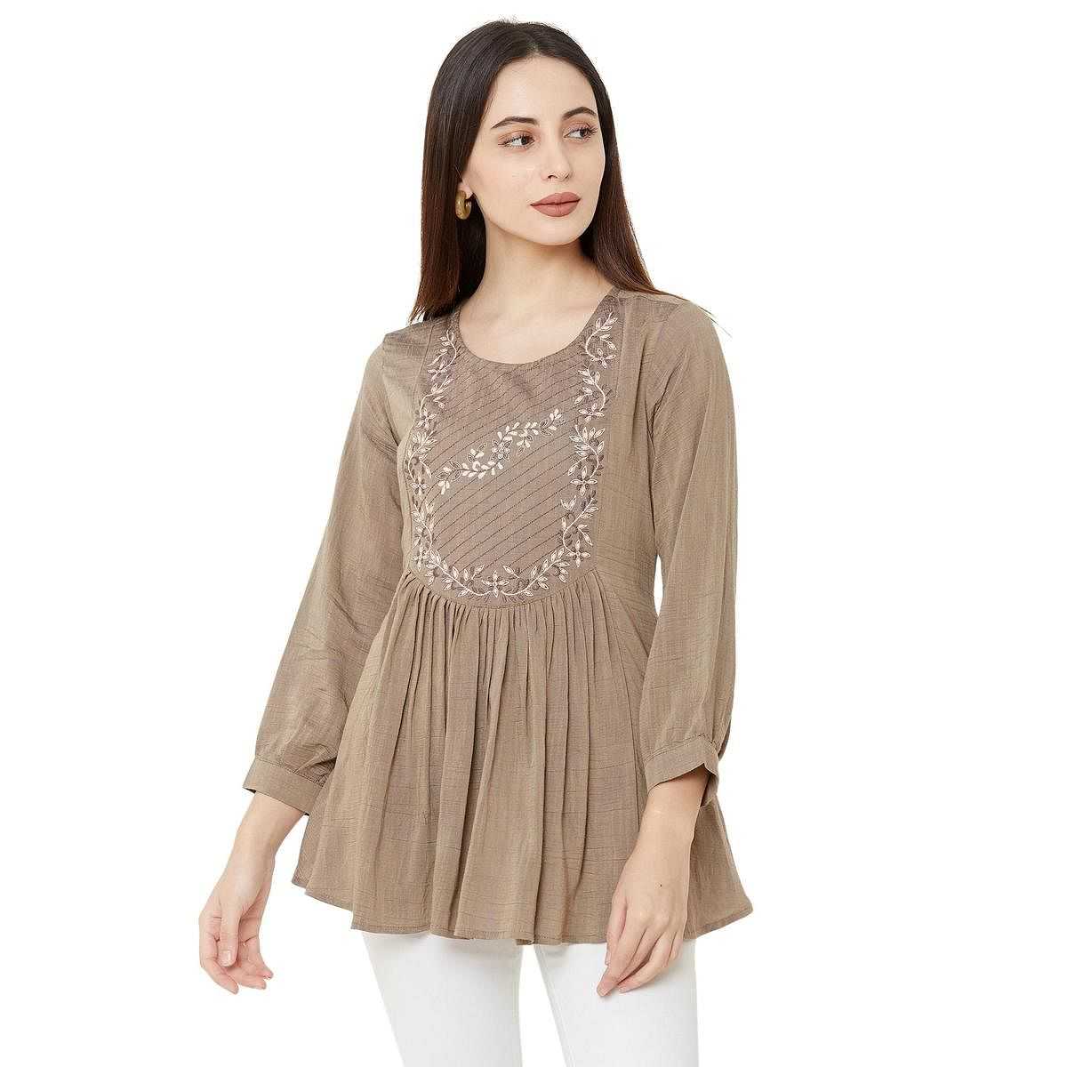 Blooming Beige Colored Casual Wear Embroidered Viscose Blend Kurti