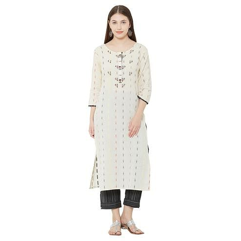 Fantastic Cream Colored Casual Wear Embellished Cotton Kurti