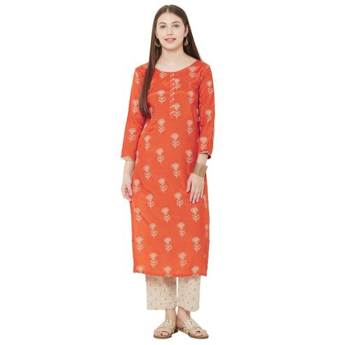 Amazing Orange Colored Casual Wear Embellished Viscose Silk Kurti