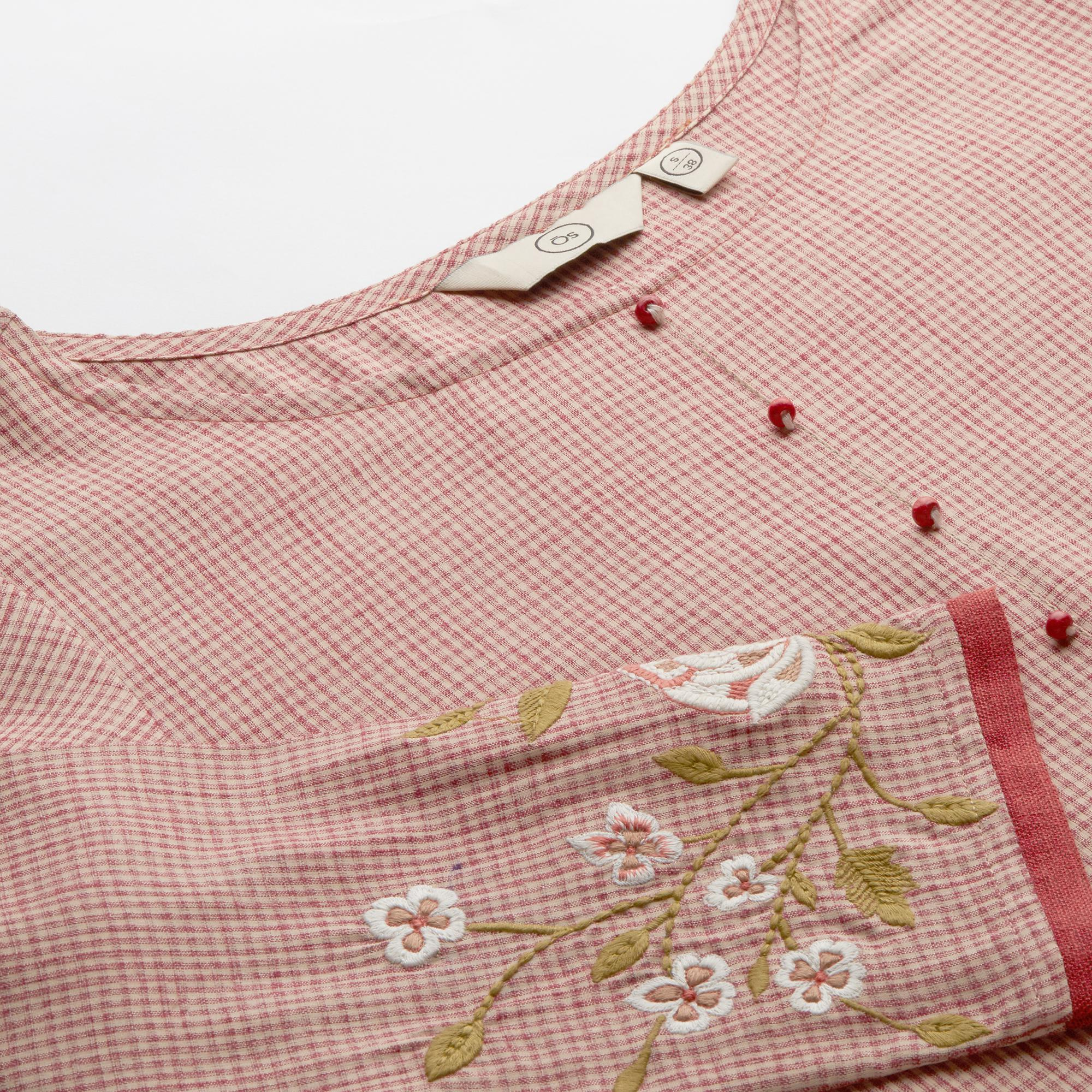 Gorgeous Pink Colored Casual Wear Checkered Cotton Kurti