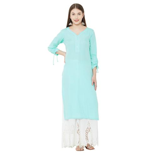 Demanding Sky Blue Colored Casual Wear Embellished Rayon Kurti