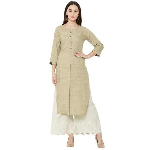 Excellent Beige Colored Casual Wear Solid Cotton Kurti