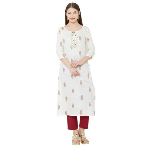 Marvellous White Colored Casual Wear Embroidered Jacquard Kurti