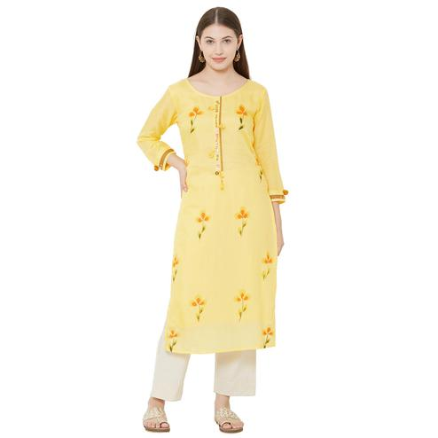 Pretty Yellow Colored Casual Wear Embellished Cotton Kurti