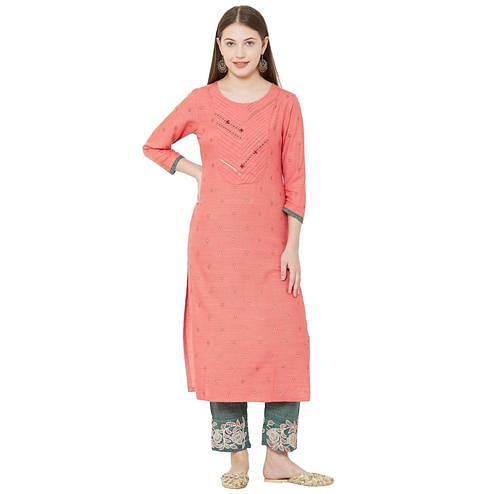Sensational Pink Colored Casual Wear Embellished Cotton Silk Kurti