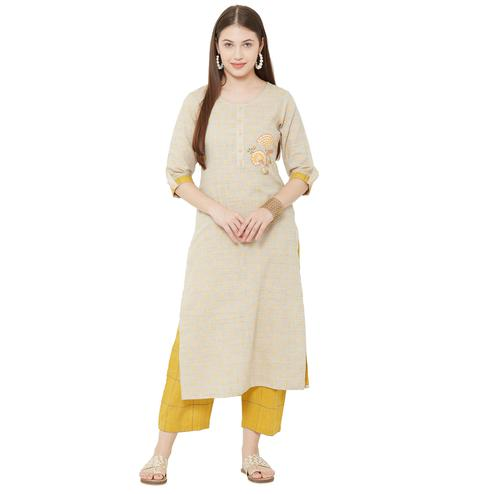 Flaunt Beige Colored Casual Wear Embellished Cotton Silk Kurti