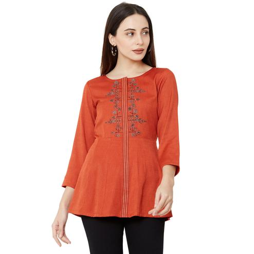 Flirty Orange Colored Casual Wear Embroidered Viscose Kurti