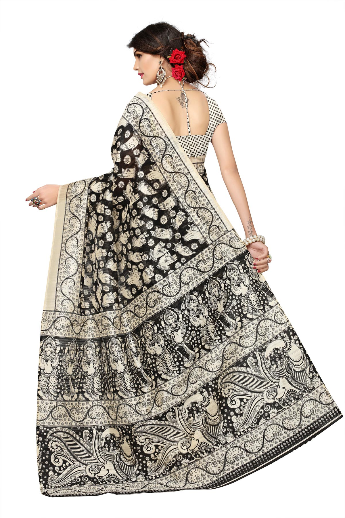 Black Printed Bhagalpuri Silk Saree
